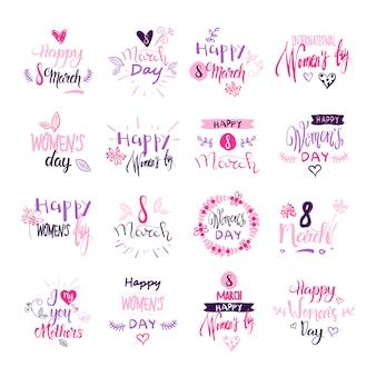 Gelukkige vrouwendag badges instellen creatieve roze belettering kalligrafie collectie op witte achtergrond