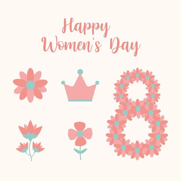 Gelukkige vrouwendag belettering en bundel van vrouwendag pictogrammen