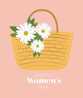 Gelukkige vrouwendag belettering en picknickmand met drie witte bloemen illustratie