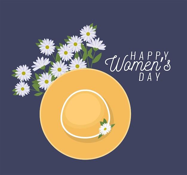 Gelukkige vrouwendag belettering en strandhoed met een illustratie van witte bloemen