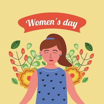 Gelukkige vrouwendag belettering kaart met illustratie van de vrouw en bloemen