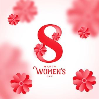 Gelukkige vrouwendag bloemengroet wenst achtergrond