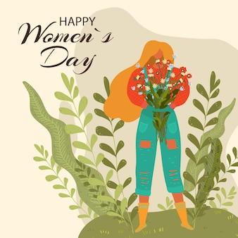 Gelukkige vrouwendag bloemenkaart belettering, mooie vakantie-uitnodiging, leuke viering, liefdesmoeder, illustratie. internationale feestdag, leuke modieuze decoratie, elegante begroeting.