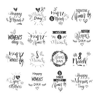 Gelukkige vrouwendag het van letters voorzien vastgestelde grunge inktkentekens en stickers op witte achtergrond