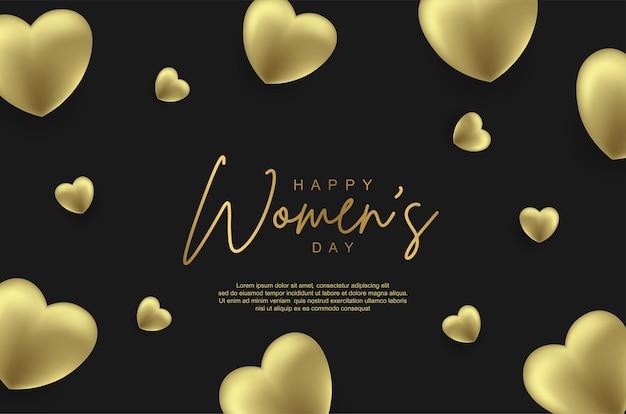 Gelukkige vrouwendag met realistische gouden liefdesballon