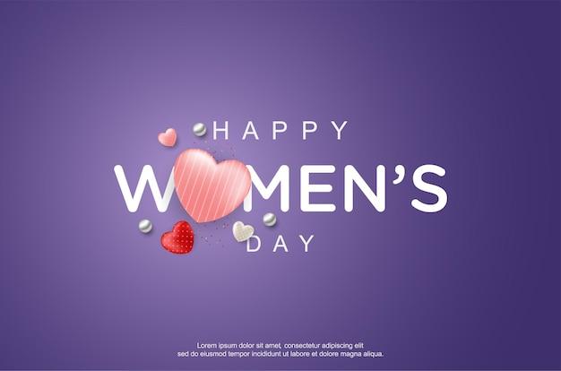 Gelukkige vrouwendag met realistische liefdeballon
