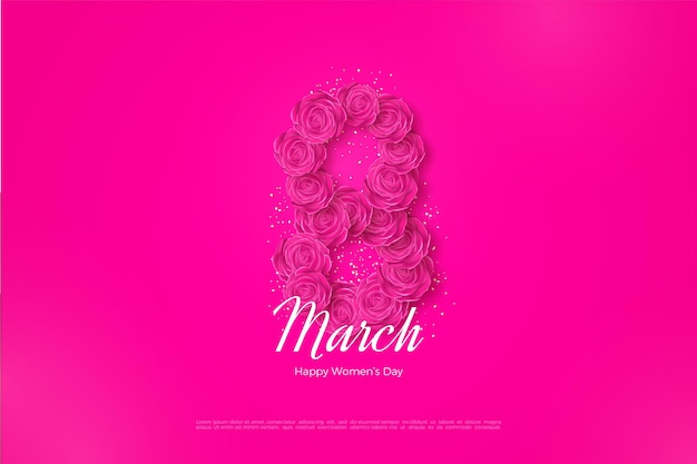 Gelukkige vrouwendag met rozen die getallen vormen.