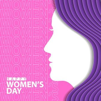 Gelukkige vrouwendag met vrouwensilhouet