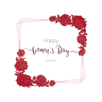 Gelukkige vrouwendag, rood bloemenframe