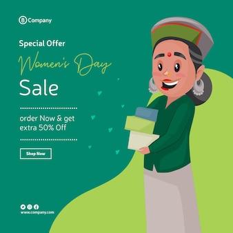 Gelukkige vrouwendag speciale aanbieding verkoop bannerontwerp met vrouw met geschenken in haar hand