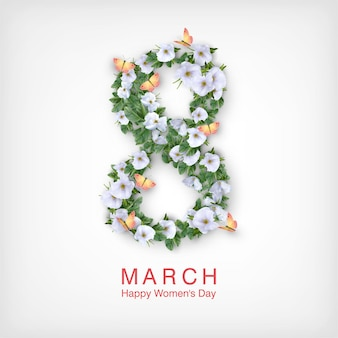 Gelukkige vrouwendag wenskaart. ansichtkaart op 8 maart