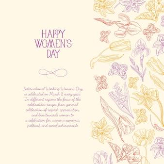 Gelukkige vrouwendag wenskaart met veel bloemen aan de rechterkant van de tekst met groeten vectorillustratie
