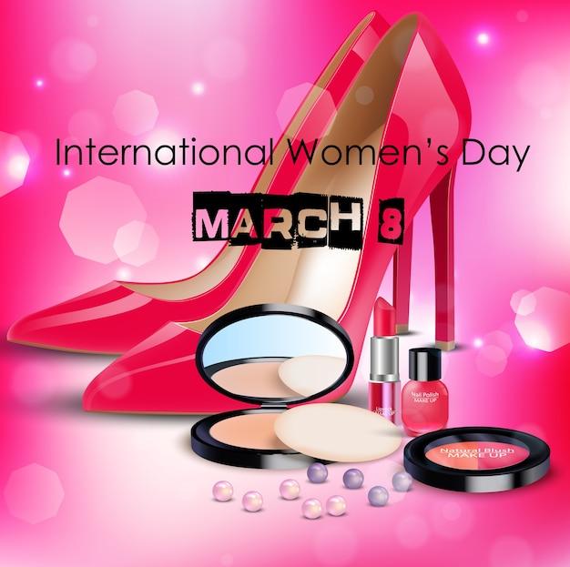 Gelukkige vrouwendagachtergrond met damesschoen en schoonheidsmiddelen