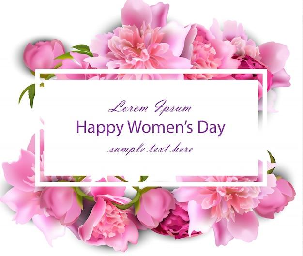 Gelukkige vrouwendagkaart met pioenbloemen