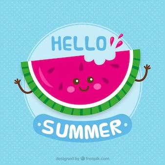 Gelukkige watermeloen achtergrond met zin
