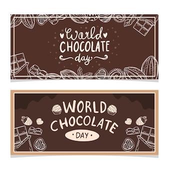 Gelukkige wereld chocolade dag poster banner ontwerp vectorillustratie