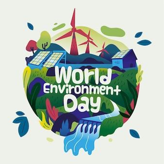 Gelukkige wereld milieu dag met aarde