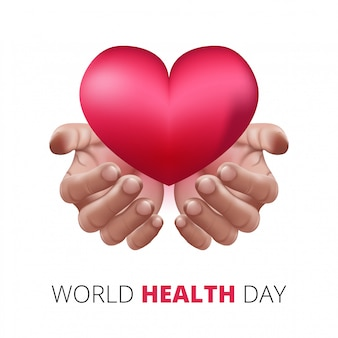 Gelukkige wereldgezondheidsdag, menselijke handen die liefdehart houden. realistische 3d-stijl. gezondheidszorg en medisch concept.