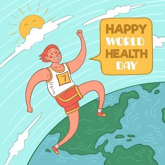 Gelukkige wereldgezondheidsdag met persoon die loopt