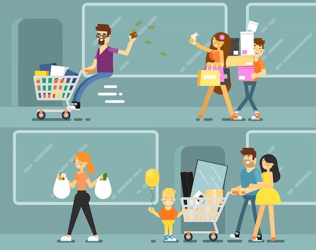 Gelukkige winkelende mensen met zakken