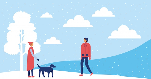 Gelukkige winter mensen vakantie