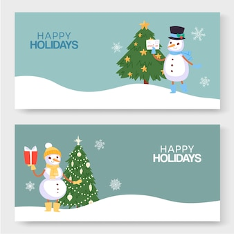 Gelukkige wintervakantie, nieuwjaar en kerstmis illustratie van twee banners.