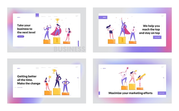 Gelukkige zakenlieden die zich op het winnende podium bevinden