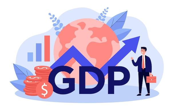Gelukkige zakenman die bbp-groei voorstelt