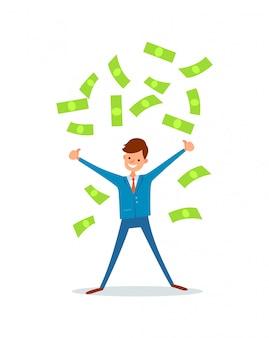 Gelukkige zakenman die contant geldregen van geld maken