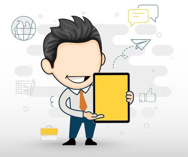 Gelukkige zakenman die een tablet toont bedrijfsconcept in beeldverhaal vectorstijl
