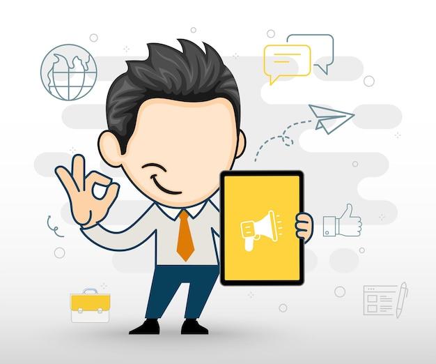 Gelukkige zakenman die een tablet-zakelijk karakter in vectorstijl toont