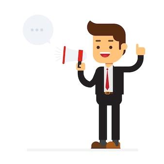 Gelukkige zakenman die in megafoon spreekt