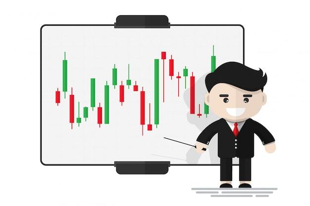 Gelukkige zakenmanpresentatie over effectenbeurs op digitaal bord