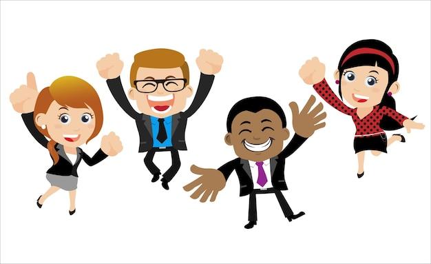 Gelukkige zakenmensen springen vieren succes prestatie