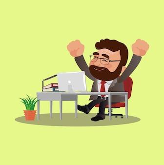 Gelukkige zakenmensen zitten aan tafel