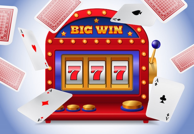 Gelukkige zeven gokautomaat en vliegende speelkaarten. casino bedrijfsreclame