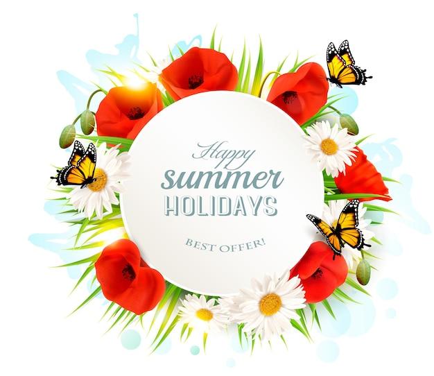 Gelukkige zomervakantie achtergrond met papavers, madeliefjes en vlinders.