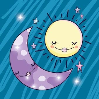 Gelukkige zon en leuke maan en sterren
