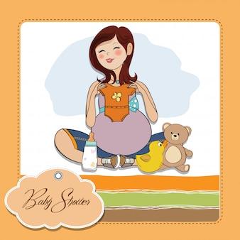Gelukkige zwangere vrouw, babydouche kaart