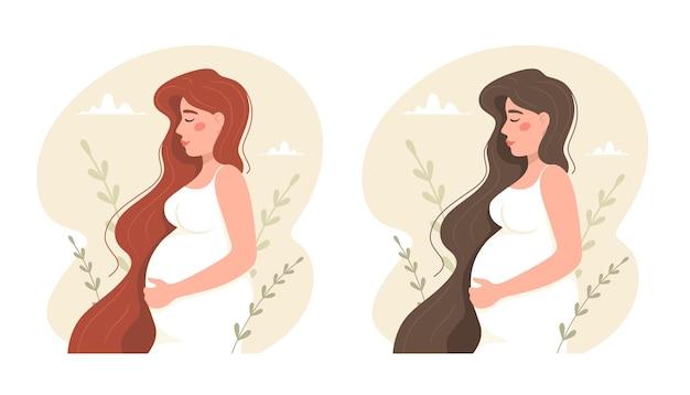 Gelukkige zwangere vrouw. roodharige en brunette.