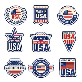 Gemaakt in de vs. nationale authentieke etiketten of kentekenszegels met amerikaanse vlag en speciale elementen vectorsymbolen