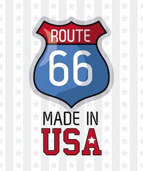 Gemaakt in de vs route 66 grafisch ontwerp van de teken het vectorillustratie