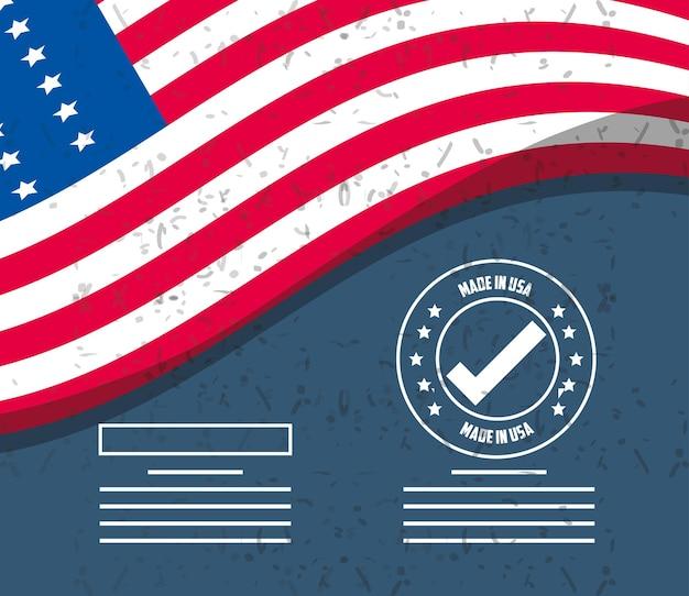 Gemaakt in de vs zegelzegel met vlag op grungeachtergrondontwerp, amerikaanse kwaliteitszaken en nationaal thema