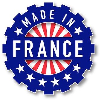 Gemaakt in frankrijk vlag kleurstempel. vector illustratie