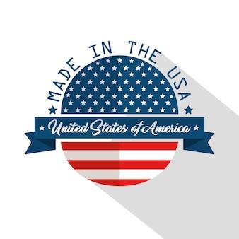 Gemaakt in het ontwerp van de vs met vlag en lint