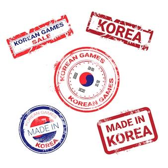 Gemaakt in korea stempels grunge sticker met koreaanse vlag instellen
