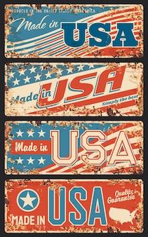 Gemaakt in roestige metalen platen van de vs, oude retro uithangborden met strepen en sterren van de nationale vlag van de verenigde staten,