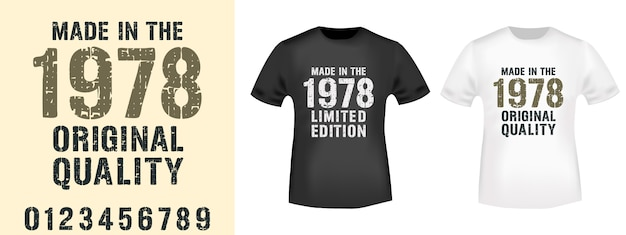 Gemaakt in verschillende jaren typografie voor stempelafdruk van t-shirt