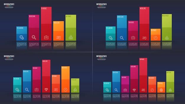 Gemakkelijk bewerkbaar 5 6 7 8 opties infographic ontwerpen, staafdiagram