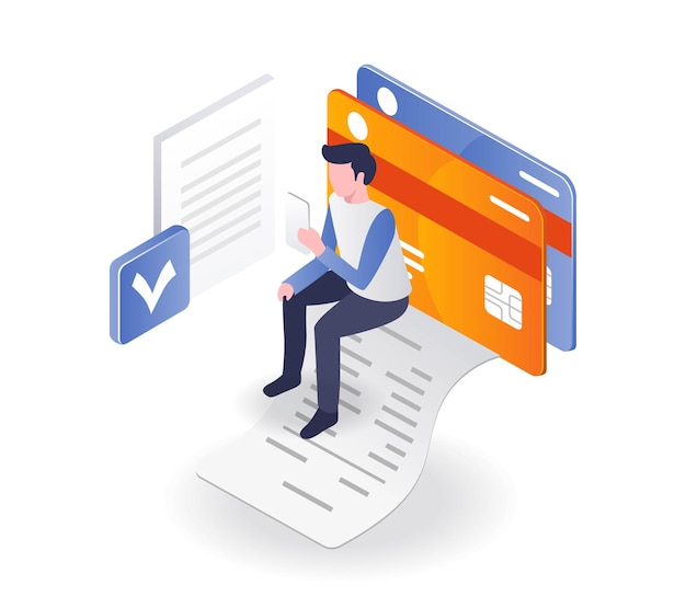 Gemakkelijk online betalen en pinautomaat in isometrische illustratie